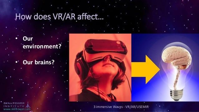 www.skilltower.com How does VR/AR affect… 3 immersive Waves - VR/AR/USEMIR • Our environment? • Our brains?