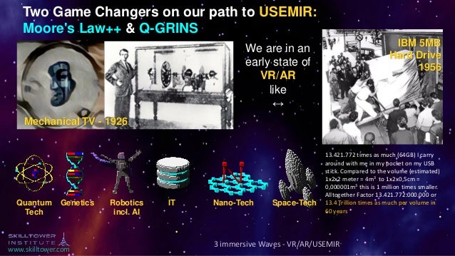 www.skilltower.com Two Game Changers on our path to USEMIR: Moore's Law++ & Q-GRINS Quantum Tech Genetics Robotics incl. A...