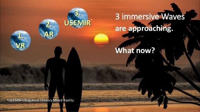 are approaching. What now? 3 immersive Waves - VR/AR/USEMIR *USEMIR=Ubiquitous SEnsory MIxed Reality * 3 immersive Waves