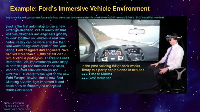 www.skilltower.com Example: Ford's Immersive Vehicle Environment https://media.ford.com/content/fordmedia/fna/us/en/asset....