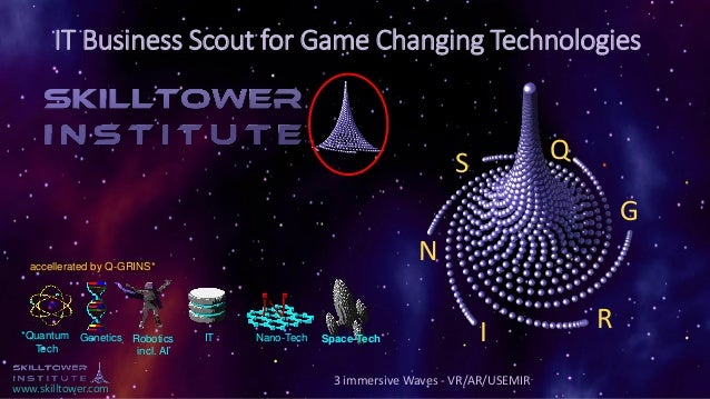 www.skilltower.com IT Business Scout for Game Changing Technologies 3 immersive Waves - VR/AR/USEMIR *Quantum Tech Genetic...