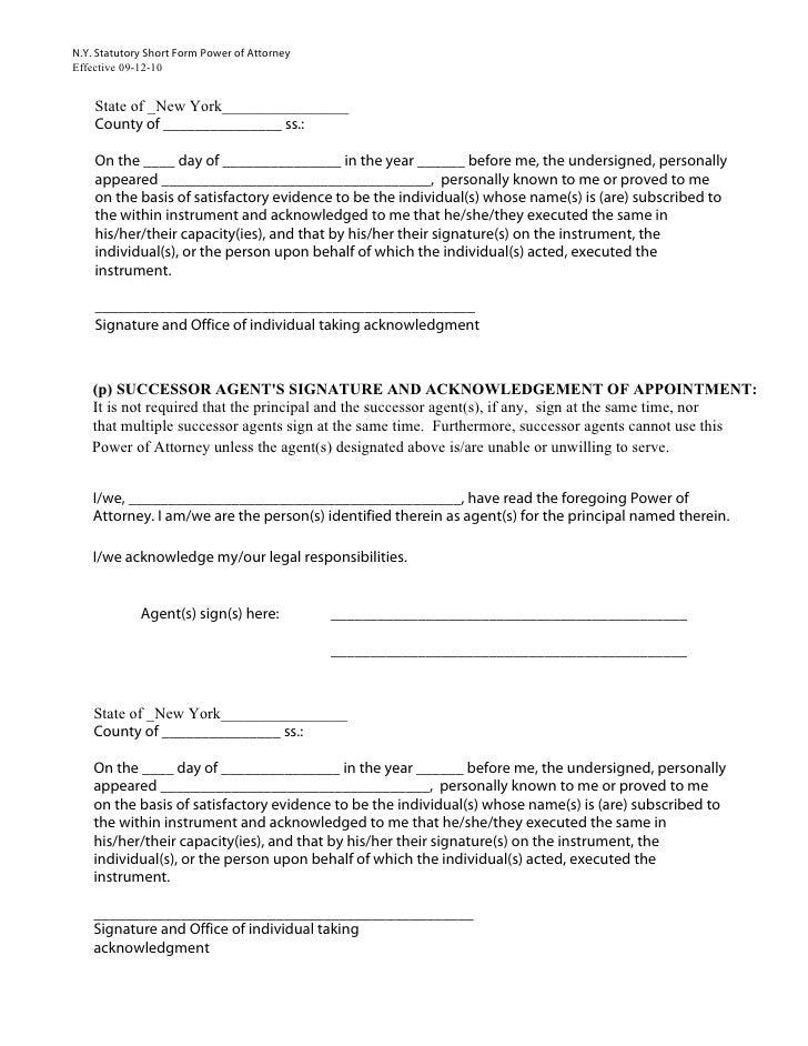 Powerof Attorney Short Form 2010