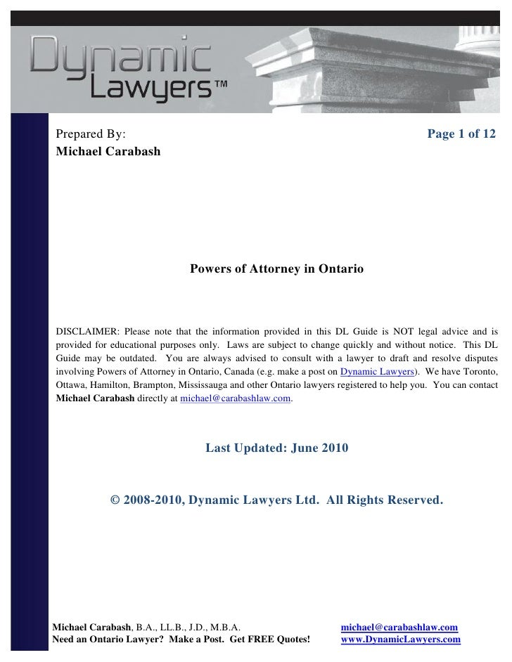 legal papers for power of attorney