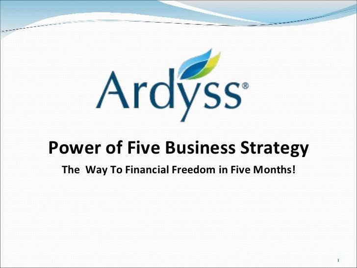 <ul><li>Power of Five Business Strategy </li></ul><ul><li>The  Way To Financial Freedom in Five Months! </li></ul>