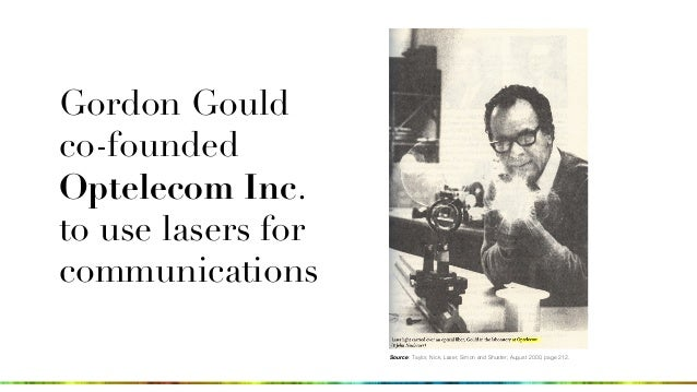 Gordon Gould co-founded Optelecom Inc. to use lasers for communications Source: Taylor, Nick, Laser, Simon and Shuster; Au...