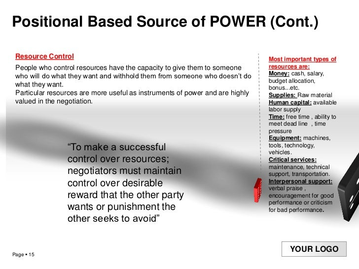 types of power in a negotiation Drawing on theories of negotiations and of intergroup power, we predicted that   based on the negotiation literature, we focused on 2 types of.