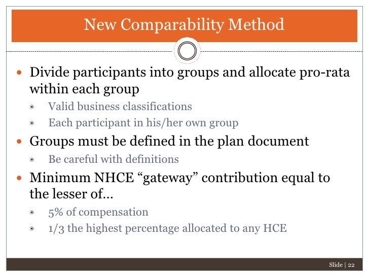 New Comparability Plan Design