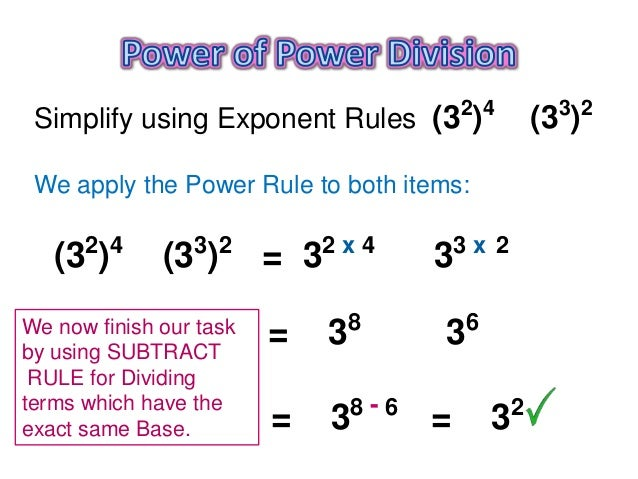 Power Of A Power : Power of exponent rule