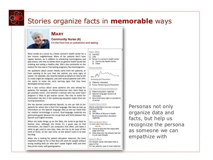 Stories organize facts in memorable ways                            Personas not only                            organize ...