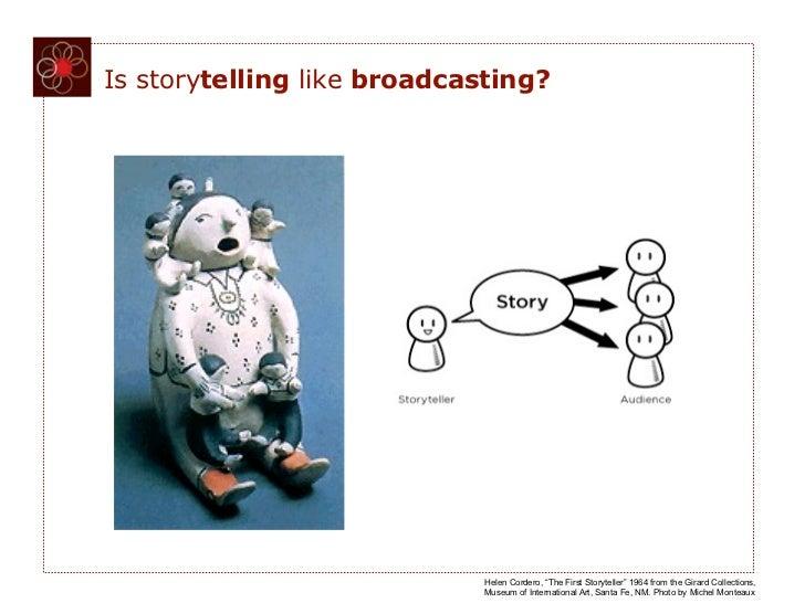 "Is storytelling like broadcasting?                            Helen Cordero, ""The First Storyteller"" 1964 from the Girard ..."