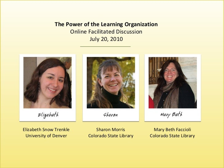 The Power of the Learning Organization The Power of the Learning Organization Online Facilitated Discussion July 20, 2010 ...