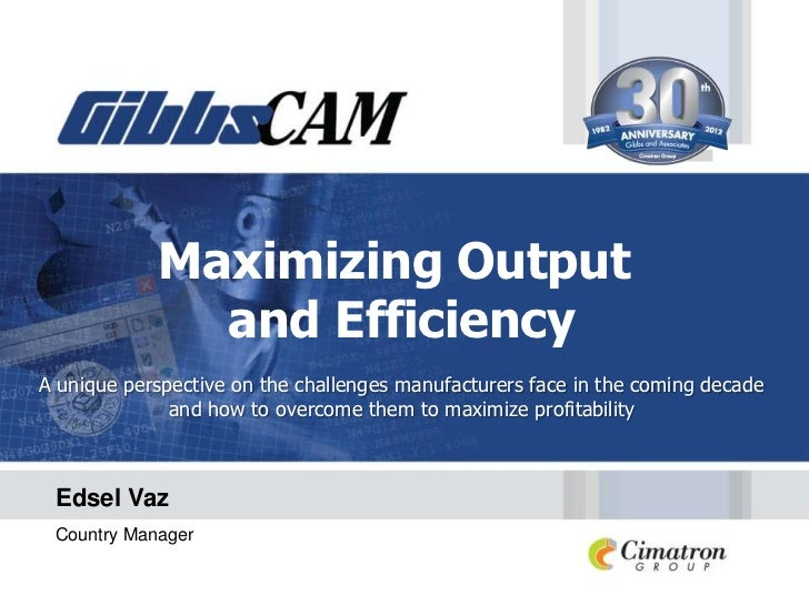 Maximizing Output              and EfficiencyA unique perspective on the challenges manufacturers face in the coming decad...
