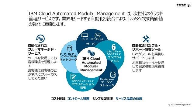 © 2015 IBM Corporation 自動化された フル・マネージド・ サービス ツールを使用してお 客様環境を管理しま す お客様はお客様のビ ジネスにフォーカス してください 自動化されたフル・ サポート管理ツール IBMがツールを...