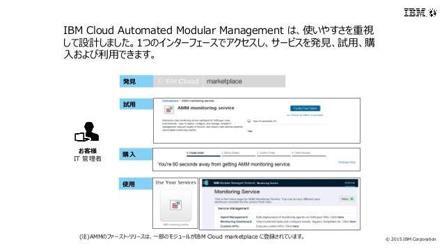 © 2015 IBM Corporation お客様 IT 管理者 IBM Cloud Automated Modular Management は、使いやすさを重視 して設計しました。1つのインターフェースでアクセスし、サービスを発見、試用、...