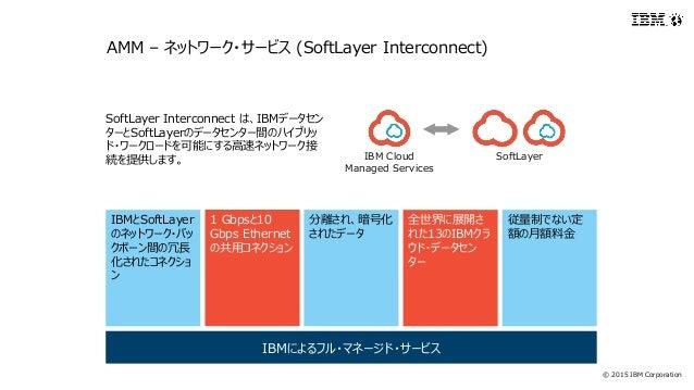 © 2015 IBM Corporation IBMとSoftLayer のネットワーク・バッ クボーン間の冗長 化されたコネクショ ン 1 Gbpsと10 Gbps Ethernet の共用コネクション 分離され、暗号化 されたデータ 全世界...