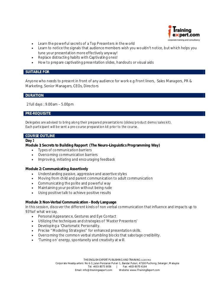 hnd presentation skill outcome 1 Presentation scenarios for outcome 1 is a mandatory unit within hnd (f84e 35): presentation skills 8 higher national unit specification.