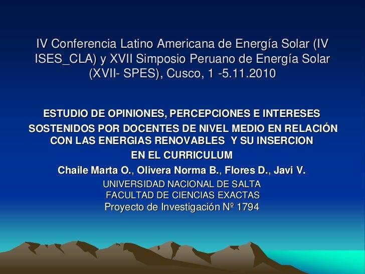 IV Conferencia Latino Americana de Energía Solar (IV ISES_CLA) y XVII Simposio Peruano de Energía Solar          (XVII- SP...