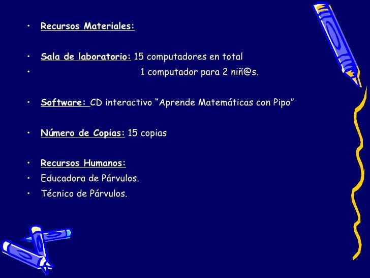 <ul><li>Recursos Materiales:   </li></ul><ul><li>Sala de laboratorio:  15 computadores en total </li></ul><ul><li>1 comput...