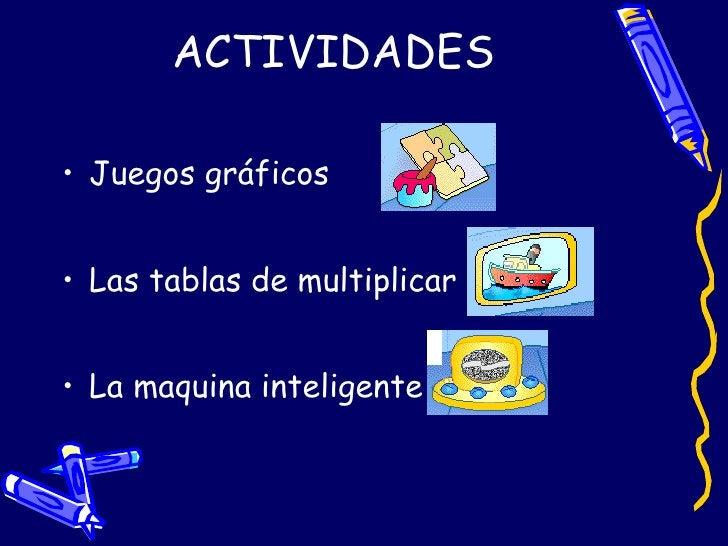 ACTIVIDADES <ul><li>Juegos gráficos </li></ul><ul><li>Las tablas de multiplicar </li></ul><ul><li>La maquina inteligente <...