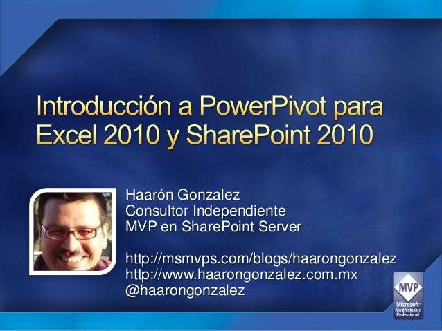 Haarón GonzalezConsultor IndependienteMVP en SharePoint Serverhttp://msmvps.com/blogs/haarongonzalezhttp://www.haarongonza...
