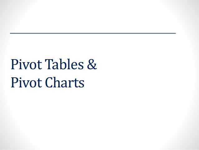 Pivot Tables & Pivot Charts
