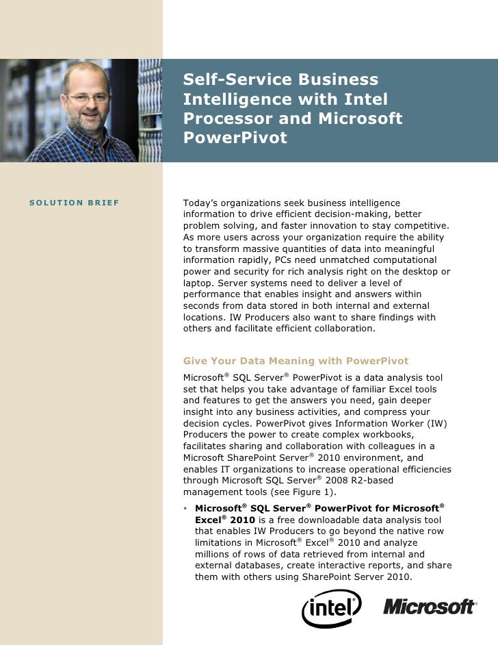 Self-Service Business                       Intelligence with Intel                       Processor and Microsoft         ...