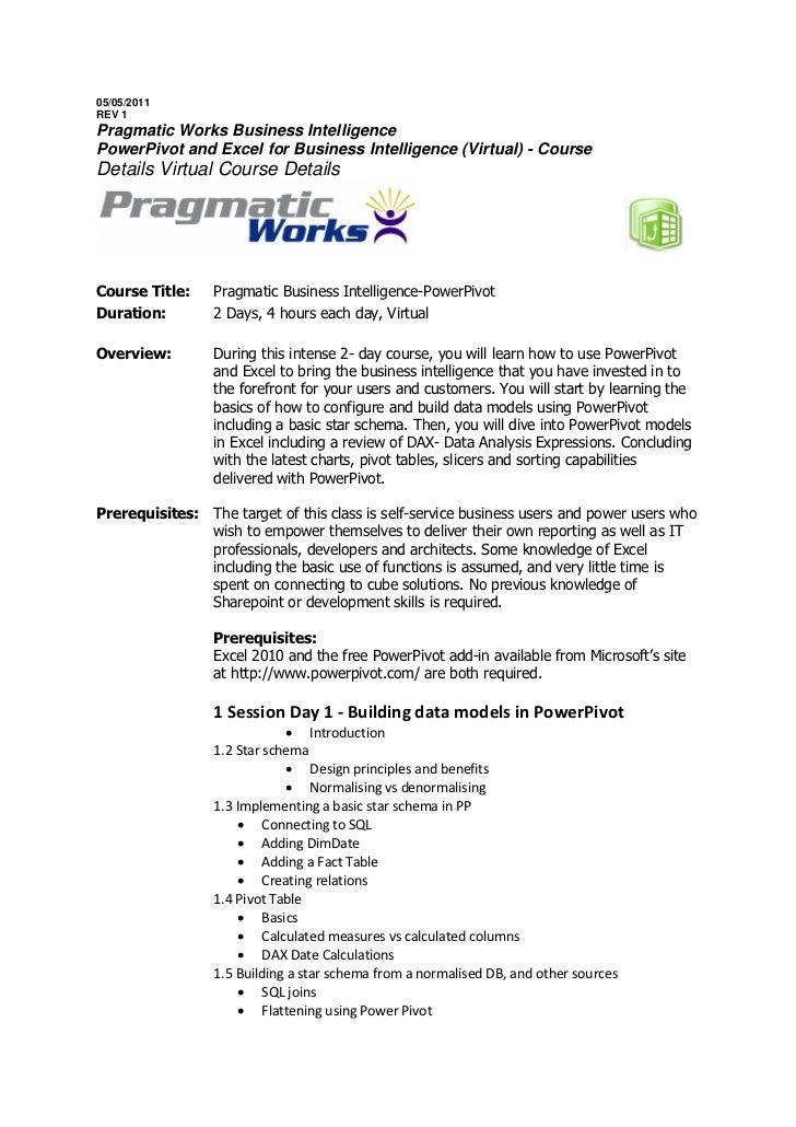 05/05/2011REV 1Pragmatic Works Business IntelligencePowerPivot and Excel for Business Intelligence (Virtual) - CourseDetai...