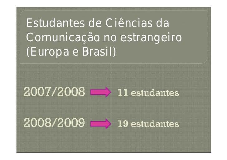 Estudantes de Ciências da Comunicação no estrangeiro (Europa e Brasil)