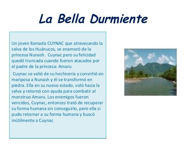 La Bella Durmiente Un joven llamado CUYNAC que atravesando la selva de los Huánucos, se enamoró de la princesa Nunash. Cuy...