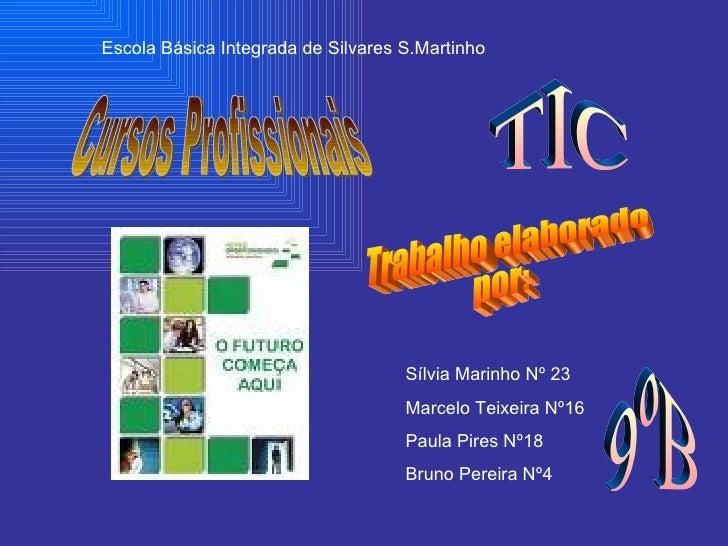 Cursos Profissionais Escola Básica Integrada de Silvares S.Martinho Trabalho elaborado por: Sílvia Marinho Nº 23 Marcelo T...