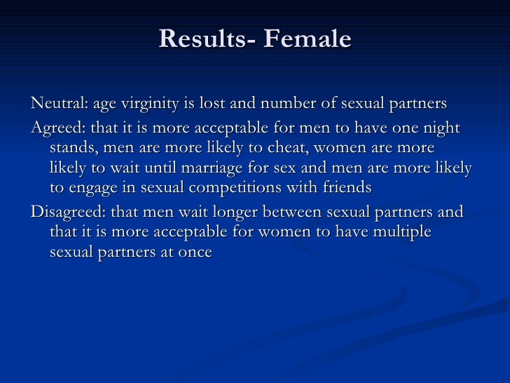 double standards in sex A double standard is the application of different sets of principles for similar  situations it is most  studs and sluts: virginity-loss scripts and sexual double  standards among college-age students coe college retrieved november 30,  2017.