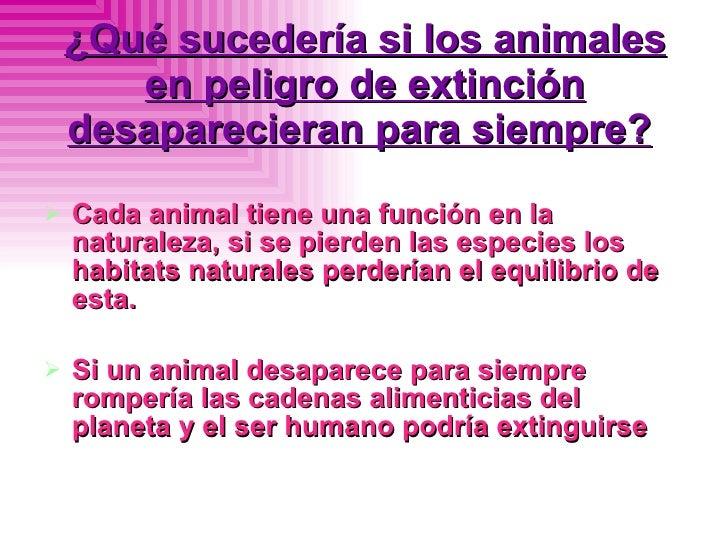 ¿Qué sucedería si los animales en peligro de extinción desaparecieran para siempre?   <ul><li>Cada animal tiene una funció...