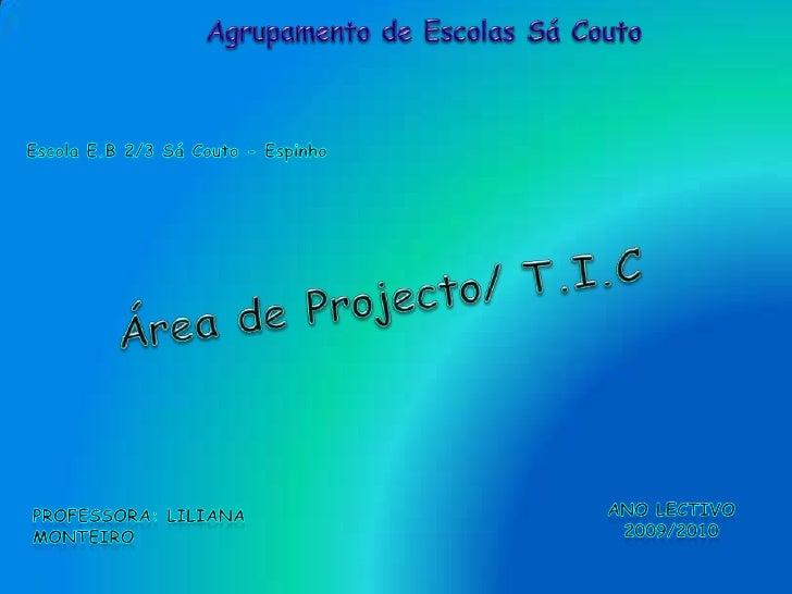Agrupamento de Escolas Sá Couto<br />Escola E.B 2/3 Sá Couto - Espinho<br />Área de Projecto/ T.I.C<br />Ano Lectivo 2009/...