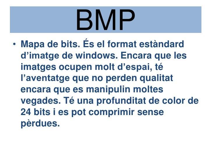 BMP<br />Mapa de bits. És el formatestàndardd'imatge de windows. Encara que les imatges ocupen moltd'espai, té l'aventatge...