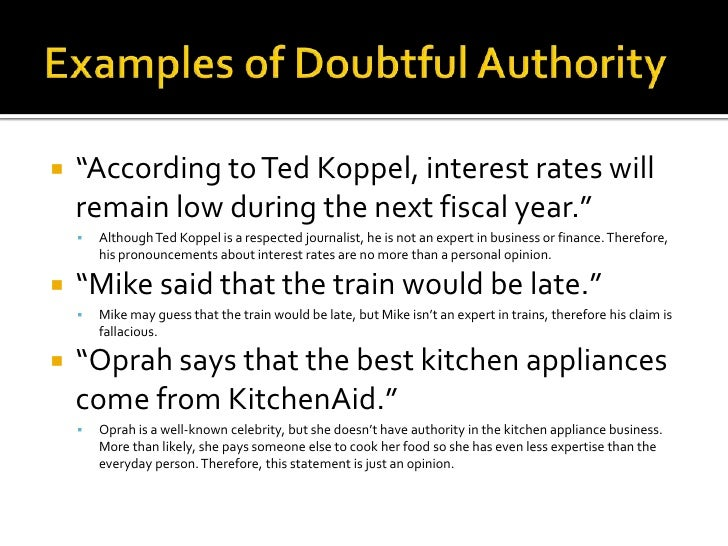 Appeal To Doubtful Authority