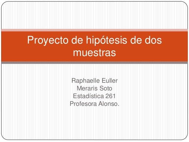 Raphaelle Euller Meraris Soto Estadística 261 Profesora Alonso. Proyecto de hipótesis de dos muestras
