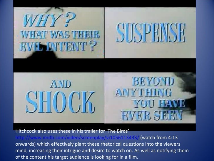 an introduction to the analysis of the birds by alfred hitchcock This thesis focuses on the works of alfred hitchcock, british born director, who   be explored from the perspective of psycho-analytical and cine-analysis   use of suspense over surprise in his films as he believed that introduction of a.