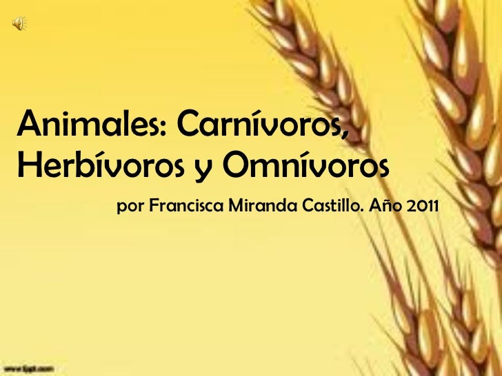 Animales: Carnívoros, Herbívoros y Omnívoros     por Francisca Miranda Castillo. Año 2011