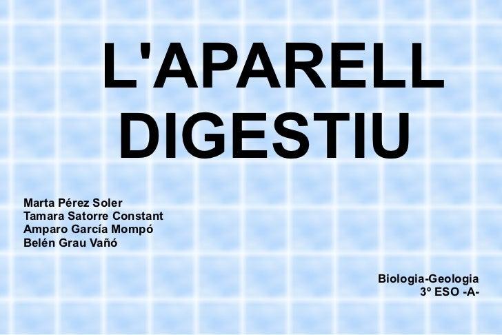 L'APARELL  DIGESTIU Marta Pérez Soler Tamara Satorre Constant Amparo García Mompó Belén Grau Vañó Biologia-Geologia 3º ESO...