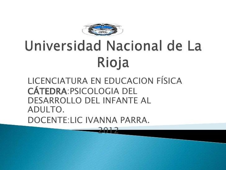 LICENCIATURA EN EDUCACION FÍSICACÁTEDRA:PSICOLOGIA DELDESARROLLO DEL INFANTE ALADULTO.DOCENTE:LIC IVANNA PARRA.           ...