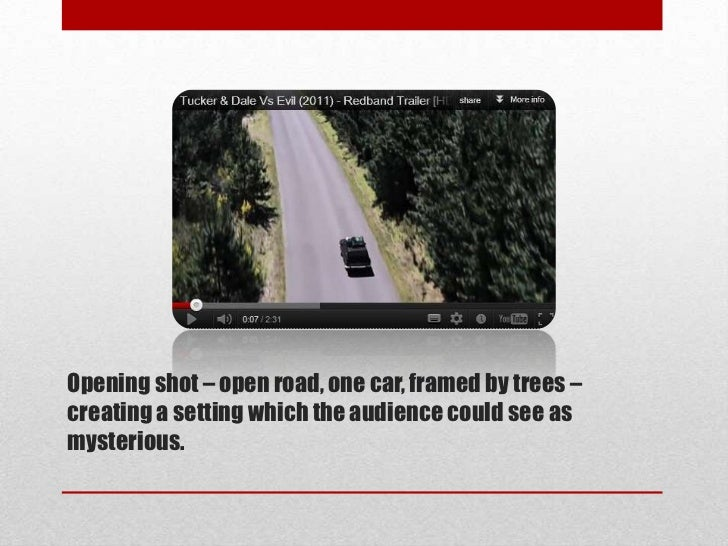 Opening shot – open road, one car, framed by trees –creating a setting which the audience could see asmysterious.