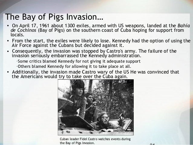 cuban exiles attempt to overthrow fidel castros communist regime with support from eisenhower admini What was the bay of pigs invasion invasion planned by cia in an attempt to overthrow new cuban dictator, fidel castro 1,400 trained cuban exiles, brigade 2506, were trained by the cia in guatemala.