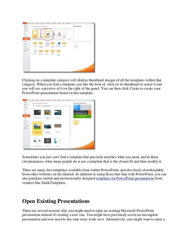 to create a presentation based on a template click the