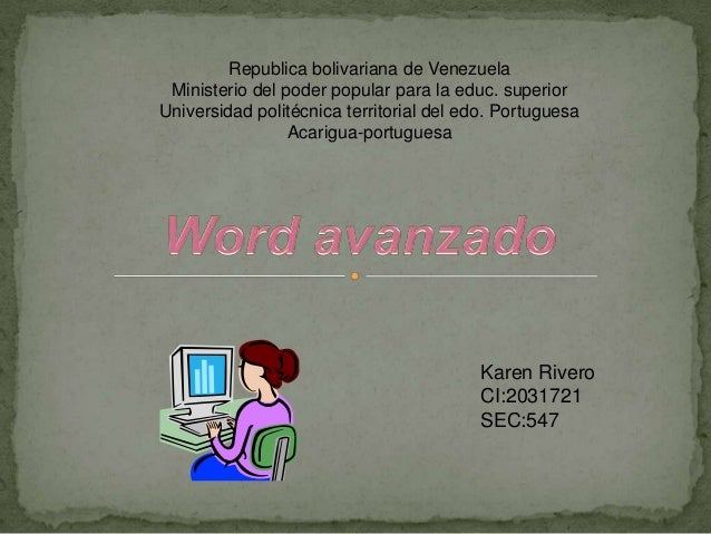 Republica bolivariana de VenezuelaMinisterio del poder popular para la educ. superiorUniversidad politécnica territorial d...