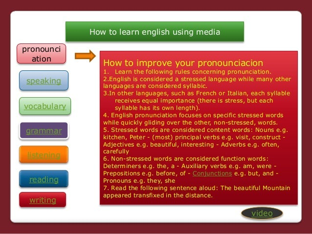 How to learn english using media grammar listening reading vocabulary writing How to improve your pronounciacion 1. Learn ...