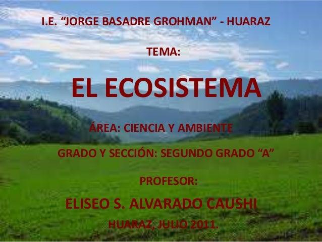 """I.E. """"JORGE BASADRE GROHMAN"""" - HUARAZ TEMA: EL ECOSISTEMA ÁREA: CIENCIA Y AMBIENTE GRADO Y SECCIÓN: SEGUNDO GRADO """"A"""" PROF..."""