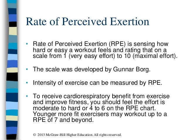 Rate of Perceived Exertion • Rate of Perceived Exertion (RPE) is sensing how hard or easy a workout feels and rating that ...