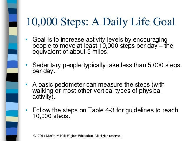 10,000 Steps: A Daily Life Goal • Goal is to increase activity levels by encouraging people to move at least 10,000 steps ...