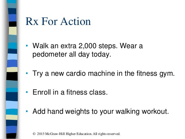 Rx For Action • Walk an extra 2,000 steps. Wear a pedometer all day today. • Try a new cardio machine in the fitness gym. ...