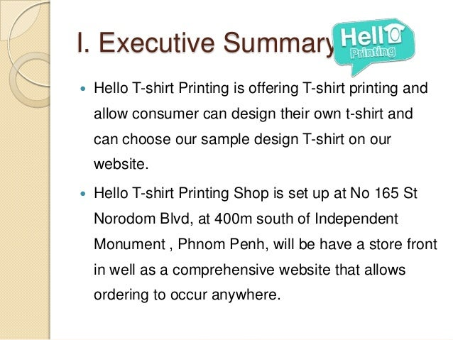 Custom t shirt company business plan